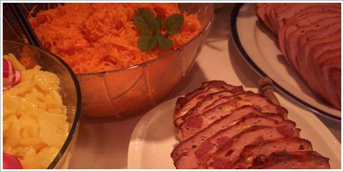 Fleischkäse und Kartoffelsaltat