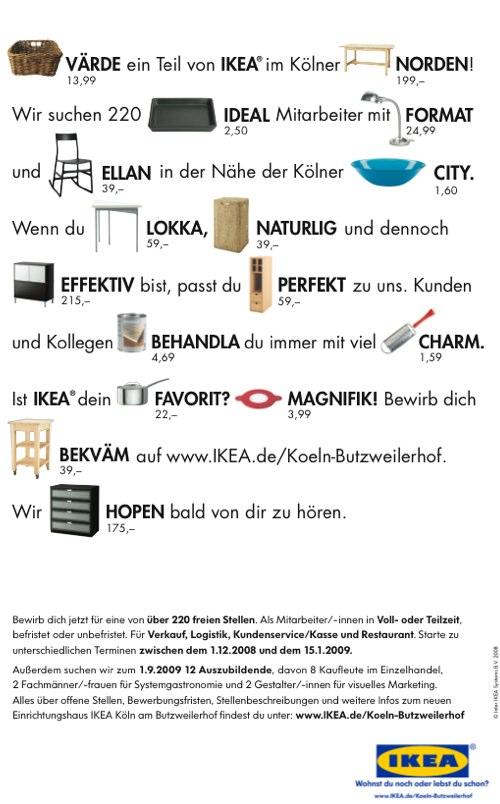 Ikea Stellenanzeige